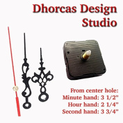 Dhorcas (#16) 1.3cm Threaded Motor and Black 8.9cm Hands, Quartz Clock Movement Kit for Replacement