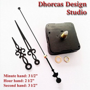 Dhorcas (#07) 1.3cm Threaded Motor and Black 8.9cm Hands, Quartz Clock Movement Kit for Replacement