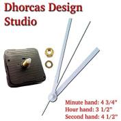 Dhorcas (#04) 1.3cm Threaded Motor and White 13cm Hands, Quartz Clock Movement Kit for Replacement