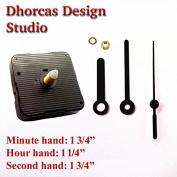 Dhorcas (#11) 1.3cm Threaded Motor and Black 4.4cm Hands, Quartz Clock Movement Kit for Replacement