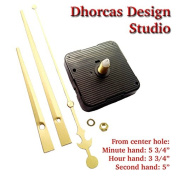Dhorcas (#02) 1.3cm Threaded Motor and Gold 15cm Hands, Quartz Clock Movement Kit for Replacement