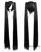 100cm Black Hatsune Miku Anime Festival Cosplay Hair for Show Party Cosers Wig Bangs Piece Straight Pigtails Long Hair for Lady