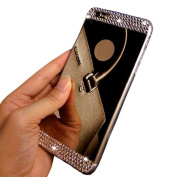 iPhone 6 Plus Case,Inspirationc® Beauty Luxury Diamond Hybrid Glitter Bling Soft Shiny Sparkling with Glass Mirror Back Plate Cover Case for Apple iPhone 6 Plus (14cm )--Black