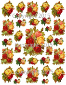 Victorian Red and Yellow Roses Collage Sheet Printed Collage Sheet, Weddings, Decoupage, Scrapbook, Altered Art, Victorian Scrap