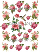 Victorian Roses and Hummingbird Collage Sheet Printed Collage Sheet, Weddings, Decoupage, Scrapbook, Altered Art, Victorian Scrap