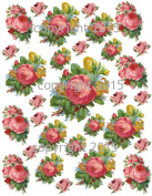 Victorian Pink Roses Collage Sheet 102 Printed Collage Sheet, Weddings, Decoupage, Scrapbook, Altered Art, Victorian Scrap