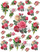 Victorian Pink Roses Collage Sheet Printed Collage Sheet, Weddings, Decoupage, Scrapbook, Altered Art, Victorian Scrap