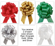 Christmas Colours Mixed Collection Flora Satin 14cm Pull Bows - 20 loops - 10 Pack