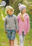 King Cole Girls & Boys Double Knitting Pattern Cable Knit Sweater & Cardigan Merino DK