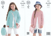 King Cole Bamboo Cotton DK Double Knitting Pattern Girls Round Neck or Collared Coats