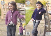 King Cole Magnum Chunky Knitting Pattern Childrens Collar or V Neck Cardigans Jackets