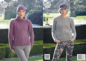 King Cole Womens Magnum Chunky Knitting Pattern Ladies Cable Knit Sweater Jumper & Hat