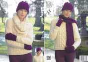 King Cole Womens Magnum Chunky Knitting Pattern Ladies Sweater & Winter Accessories