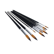 APG 9pcs Round Pointed Tip Nylon Hair Artists Watercolour Paint Brush Set Acrylic Oil Painting Brush