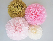 Pink Gold and Creme Tissue Paper Poms Set of 4