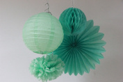 SUNBEAUTY Mint Series Mint Green Tissue Paper Pompom Paper Fan Mint Honeycomb Ball and Mint Green Paper Lanterns Pack of 4