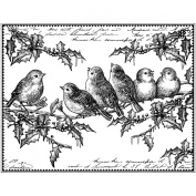 Crafty Individuals Unmounted Rubber Stamp, 12cm x 18cm , Holly Jolly Robins