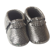 Happy Cherry Infant Baby Toddler Newborn Leather Soft Sole Tassel Pre-Walkers Shoes Moccasins Slip-on Crib Shoes Light Silver Size 12