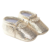 TANGDA Infant Baby Toddler Newborn Leather Soft Sole Tassel Pre-Walkers Shoes Moccasins Slip-on Crib Shoes Light Golden Size 13