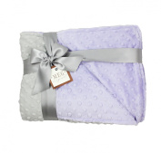 MEG Original Lavender & Grey Minky Dot Baby Girl/Toddler Crib Blanket 652