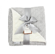 MEG Original Minky Dot Baby Blanket, Ivory & Grey, 973