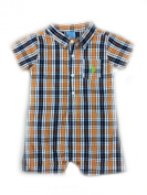 Us Polo Assn Baby Boys Orange Plaid Button Down Romper 3/6 Months