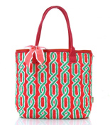 quilted vine print tote