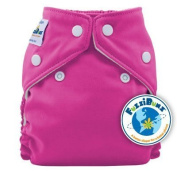 FuzziBunz. Perfect Size Pocket Nappy in Crushed Berries, with microfibre insert, popper fastening, x-small (newborn