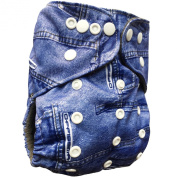 Basil the Blue Cloth Nappy Ai2 One Size with a 4-layer Bamboo Charcoal Snap-in Insert, My Little Blue Jeans