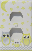 Grey and Yellow Owl Outlet Covers / Owl Nursery Decor