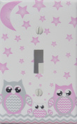 Grey and Pink Owl Light Switch Plate Covers Single Toggle / Owl Nursery Decor