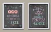And Though She Be But Little She is Fierce & Perfect Combination of Princess and Warrior; Nursery Decor; Two 11x14 White Framed Print. Pink/White/Teal/Purple