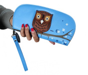 Easting Women's Cute Owl Hollow Three-Dimensional Printing Rounded Zipper Long Wallet