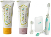 Jack N' Jill Natural Toothpaste, 50ml (Set of 2) with Vibrations Toothbrush, Banana/Raspberry