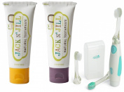 Jack N' Jill Natural Toothpaste, 50ml (Set of 2) with Vibrations Toothbrush, Banana/Blackcurrant