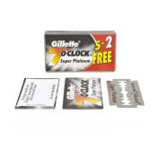 140 7 O'clock Super Platinum Double Edge Safety Razor Blades (20 tucks of 7 blades on a display card) - AKA 2.1mOclock Black