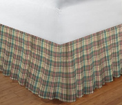 Patch Magic Multi/Brown/Tan Plaid Fabric Dust Ruffle Bed Skirt, Twin