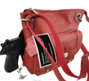 Concealed Carry Cross Body Leather Gun Purse with Locking Zipper