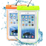 Clear Universal Waterproof Case, Ace Teah Dry Bag, Pouch, Transparent Snowproof Dirtproof Protective Cover for iPhone 6, 6 Plus 5S 5C Samsung Galaxy S6 edge S5 S4, Note 4 3 2 - Orange, Green