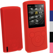 iGadgitz Red Silicone Skin Case Cover for Sony Walkman NWZ-E384 4GB 8GB + Screen Protector