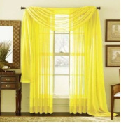 MONAGIFTS BRIGHT YELLOW Scarf Voile Window Panel Solid sheer valance curtains 550cm LONG