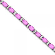 Diamond and Oval Cut Pink Sapphire Tennis Bracelet 14k White Gold