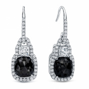 18k White Gold Cushion-cut Black Dangle Diamond Earrings