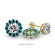 Blue Diamond Halo Jacket for Stud Earrings 0.72 ct tw in 14K Yellow Gold