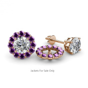 Amethyst Halo Jacket for Stud Earrings 0.72 ct tw in 14K Rose Gold