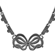 Sterling Silver Oxidised Deco Bow Pendant Necklace, 48cm