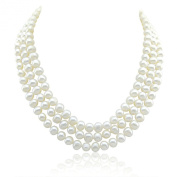 """3-row White A Grade Freshwater Cultured Pearl Necklace (7.5-8.0 mm), 16.5"""", 17""""/18"""""""