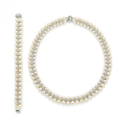 Aristocratic White Freshwater Cultured High Lustre Pearl Necklace 46cm and Bracelet 19cm Set