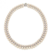 """Aristocratic White Freshwater Cultured High Lustre Pearl Necklace 6.5-8.0mm, 18"""""""