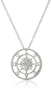 Sterling Silver, Diamond Love Compass Pendant Necklace